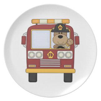 Red Fire Truck Bear Plate