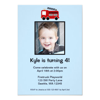 Red Fire Truck Birthday Boy Photo Invitation