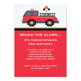 """Red Fire Truck Birthday Party 5"""" X 7"""" Invitation Card"""