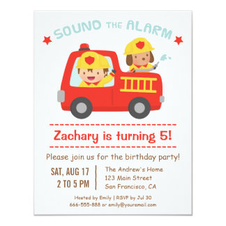 """Red Fire Truck, Cute Dog and Boy Birthday Party 4.25"""" X 5.5"""" Invitation Card"""