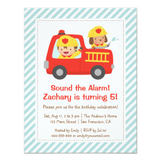 """Red Fire Truck Fighter Boy and Dog Birthday Party 4.25"""" X 5.5"""" Invitation Card"""