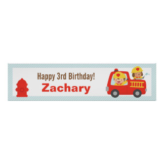 Red Fire Truck Fighter Boy Birthday Party Banner Poster