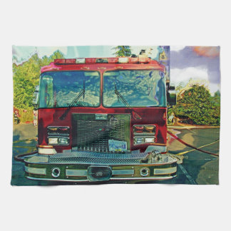 Red Fire Truck Fireman's Art Gift Kitchen Towel