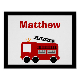 Red Fire Truck Personalized Name Wall Art Print