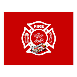 Red Fire Truck Rescue Postcard