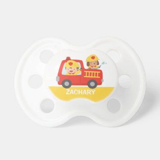 Red Fire Truck with Fire fighter Boy and Dog Baby Pacifiers