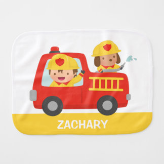 Red Fire Truck with Fire fighter Boy and Dog Burp Cloth