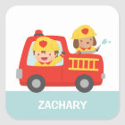 Red Fire Truck with Fire fighter Boy and Puppy Square Sticker