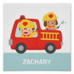 Red Fire Truck with Fire fighter Boys Room Decor Poster