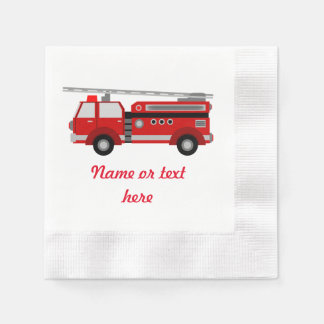 Red Fire truck with text Paper Napkins