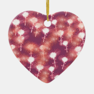 Red Fireworks Ceramic Heart Ornament