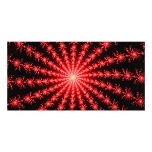 Red Fireworks - fractal design Custom Photo Card