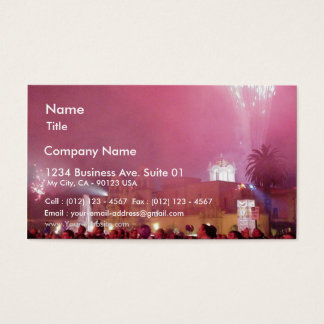 Red Fireworks In Balboa Park Business Card