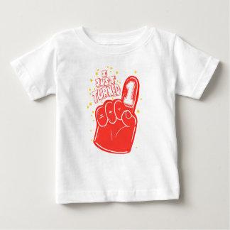 Red First Birthday Foam Finger Kids Shirt
