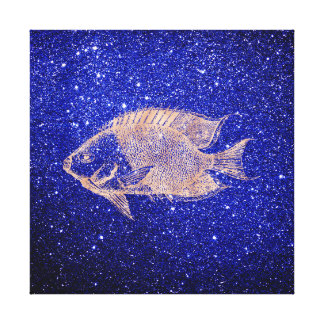 Red Fish  Marine Sea Ocean Life Pink Rose Gold1 Canvas Print