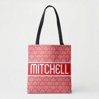 Red Fish Scale KB Personalized Tote Bag