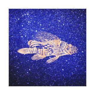 Red Fish Sea Ocean Life Pink Rose Gold Fisherman2 Canvas Print