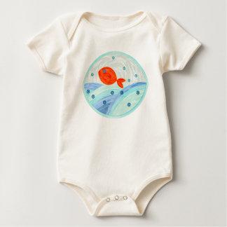 Red fish swimming baby bodysuit