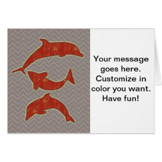 Red Fishes on zigzag chevron - Mono Card