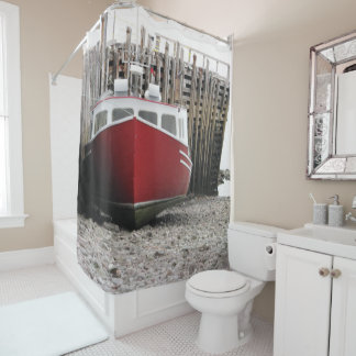 Red fishing boat Nova Scotia Shower curtain