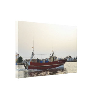 Red Fishing Boat Returning Home Gallery Wrapped Canvas