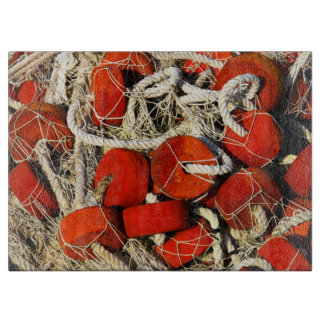 red fishing nets cutting boards