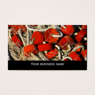 Red fishing nets seafood business  card template