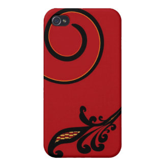 Red Flair 4  Case For iPhone 4