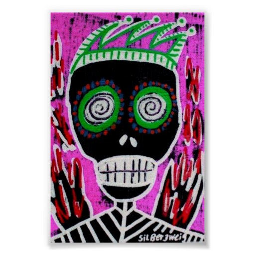 Red Flame Jester Sugar Skull Poster