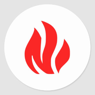 Red Flame sign Classic Round Sticker