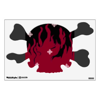 red flame skull wall decal