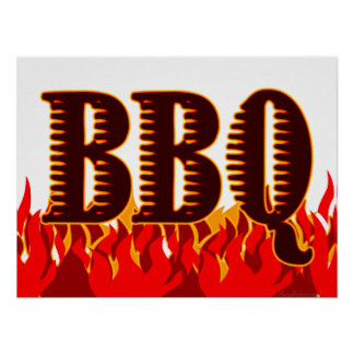 Red Flames BBQ Art Print