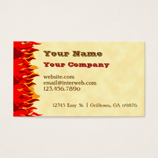 Red Flames BBQ Custom Western Business Card