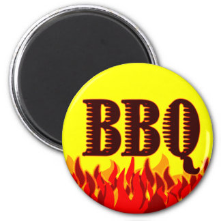 Red Flames BBQ Saying 2 Inch Round Magnet