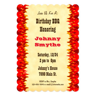 Red Flames Custom BBQ Cookout Party Invitation