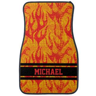 Red Flames Monogram Car Mat