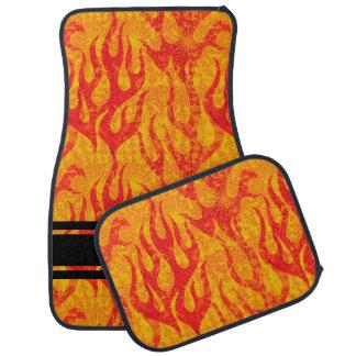Red Flames Monogram Set of 4 Car Mat
