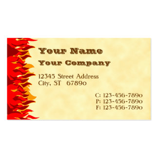 Red Flames Western Letters Business Cards