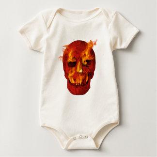 Red Flaming Skull Baby Bodysuit