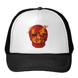 Red Flaming Skull Trucker Hat
