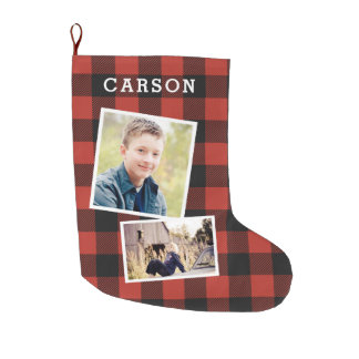 Red Flannel Photo Collage Large Christmas Stocking