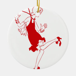 red flapper girl ceramic ornament