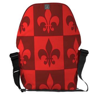 Red Fleur de lis Messenger Bag