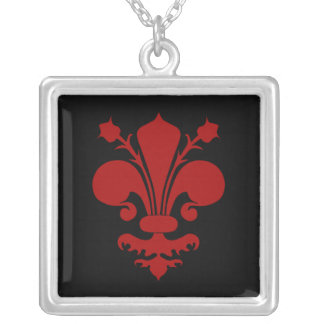 Red Fleur de Lis symbol Silver Plated Necklace