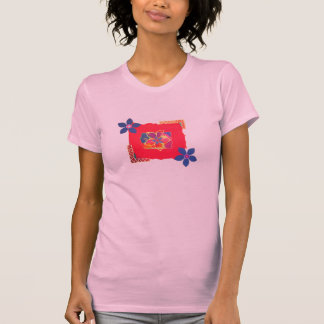 Red Floral abstract art T-shirts