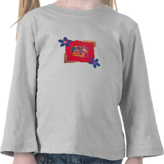 Red Floral abstract art Tee Shirt