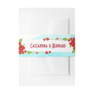 Red Floral and Blue Wedding | Belly Band Invitation Belly Band