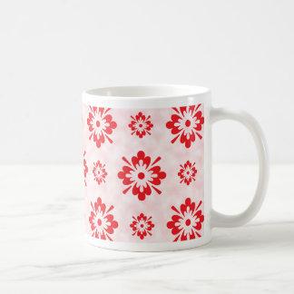 Red floral art pattern coffee mug