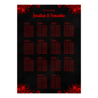Red Floral & Black 14 Wedding Tables Seating Chart Poster