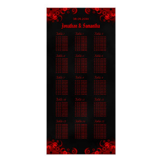 Red Floral & Black 15 Wedding Tables Seating Chart Poster